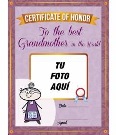 Diploma para imprimir y personalizar con una foto online de tu abuela gratis
