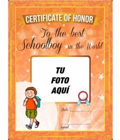 Certificado de honor al mejor alumno del mundo para personalizar con una foto online