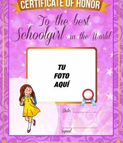 Diploma para personalizar con una foto para la mejor alumna del mundo con un marco morado