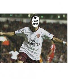 Fotomontaje para poner una cara a Cesc Fabregas, con la camiseta del Arsenal