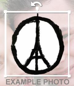 Dibujo de símbolo de la paz con la torre Eiffel en  medio para apoyar a Francia poniéndolo en tu foto de perfil