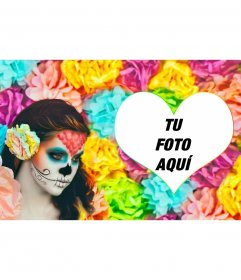 Fotomontaje colorido de una chica maquillada de Catrina