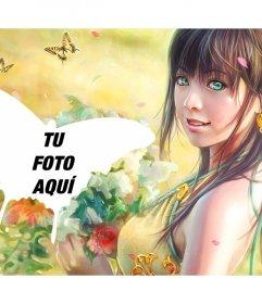 Collage con mariposas y el dibujo de una chica recogiendo flores en el campo