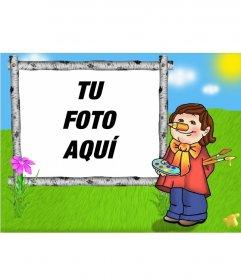 Marco para fotos cuadro infantil de niño pintando un lienzo