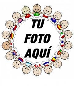 Marco para fotos con borde de fotos de niños de todas las nacionalidades con sus banderas
