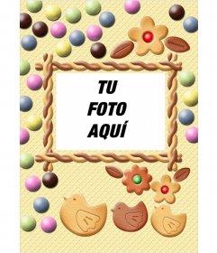 Inserta una fotografía en este marco de galleta y caramelo de colores pastel