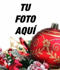 Decora tus imágenes con una enorme bola roja de Navidad online