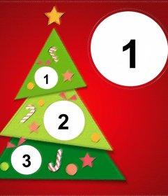 Montaje de árbol de Navidad para poner 4 fotos dentro del árbol y una foto grande