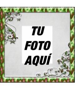 Marco para fotos de navidad con borde verde en el que puedes poner una foto