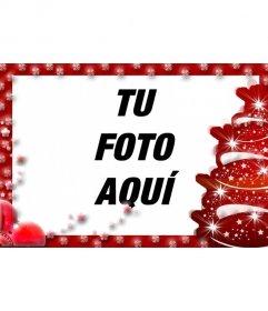 Marco para fotos con árbol navideño de adorno y borde rojo