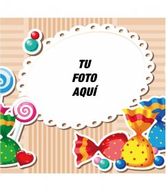 Marco para fotos infantil con caramelos