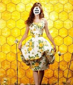 Fotomontaje de chica posando con una colmena de fondo