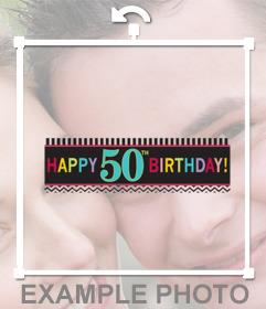 Cinta para celebrar 50 cumpleaños y añadir en tus fotos para decorar