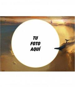 Marco para fotos con tu imagen en forma circular entre las nubes