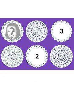 Collage con decorativos encajes circulares para subir tres fotos