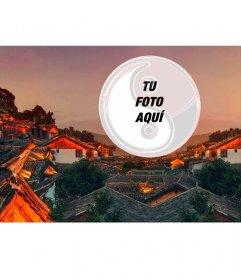 Postal de una ciudad china con tu foto