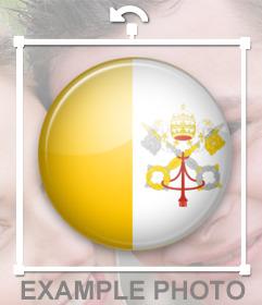 Sticker de la bandera de la ciudad del Vaticano en forma de chapa para poner en tus fotos de perfil