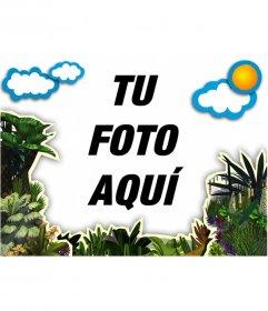 Marco para fotos de vegetación y nubes para decorar tus fotos