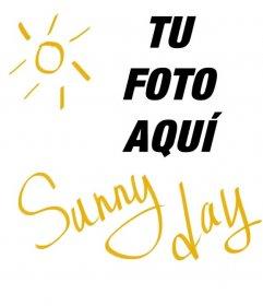 Collage cuadrado con un sol y un texto amarillo que dice *Sunny Day* para poner sobre tus fotografías