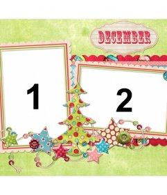 Collage de dos fotos para el mes de diciembre y Navidad