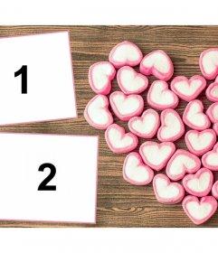 Collage para dos fotos con gomitas dulces en forma de corazón