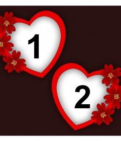 Fotomontaje de amor con dos marcos de corazón y flores para dos fotos