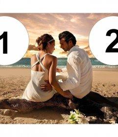Collage romántico con una pareja junto a la playa celebrando su reciente boda