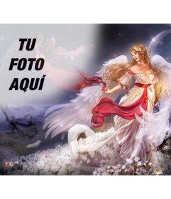 Crea un collage online con un ángel alado en forma de mujer en un mundo de fantasía rodeada de flores