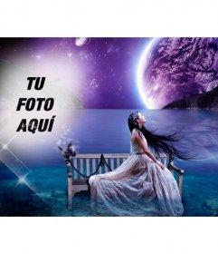 Crea un collage de fantasía en un paisaje onírico con la luna y el mar de fondo y una foto tuya fundiéndose en el cielo estrellado
