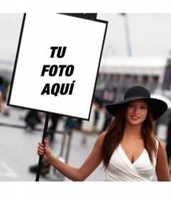 Fotomontaje con una foto de una chica de Fórmula uno con un cartel donde poner tu foto
