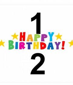 Felicitación de cumpleaños en inglés para añadir dos fotos gratis