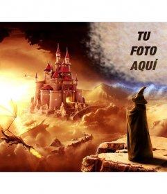 Crea un collage online en un mundo de fantasía con un mago mirando a un castillo y un dragón