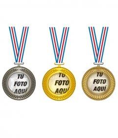 Collage con tres medallas de oro, plata y bronce, para poner en el centro tres fotos de los campeones