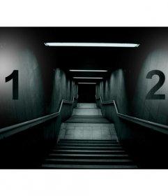 Crea un collage terrorífico con la imagen de una escalera oscura tenebrosa y dos fotografías a cada lado