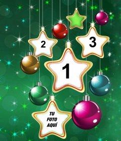 Collage de estrellas de Navidad para subir cuatro fotos