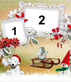 Collage de Navidad con dos marcos de fotos al lado de un árbol y varios animalitos