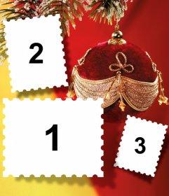 Collage navideño con tres fotos y una bola como decoración