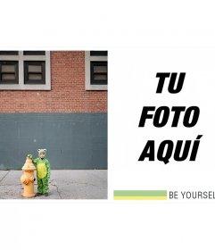 Collage con un niño disfrazado de rana con -Sé tu mismo- como lema