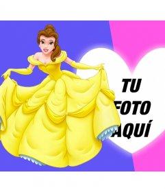 Collage de fotos con la princesa Bella vestida de gala junto al marco en forma de corazón