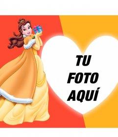 Ponte junto a Bella, la Princesa Disney de -Bella y Bestia- en un corazón con tu foto