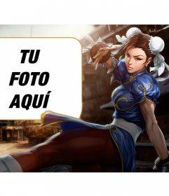 Collage con Chun-li de Street Fighter dando una patada mientras mira intensamente
