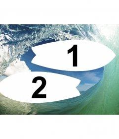 Collage de surfing entre olas y dos marcos de foto en forma de tabla de surf