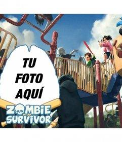 Collage con ilustración de niños supervivientes a un ataque zombie y tu foto junto a ellos