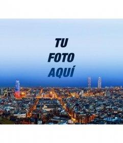 Collage con el horizonte de Barcelona para poner una fotografía en el cielo y personalizar con un texto