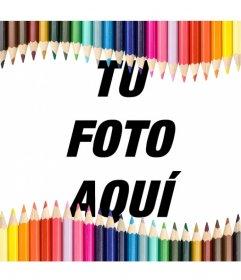 Marco para fotos hecho con lápices de colores, ideal para niños