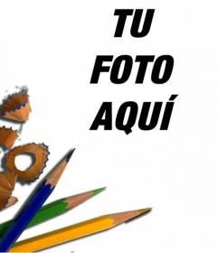 Marco para fotos con lápices de colores, especial para fotos de niños y estudiantes