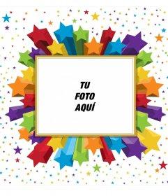 Marco de fotos rectangular de estrellas de colores, que podrás usar para tu foto de perfil