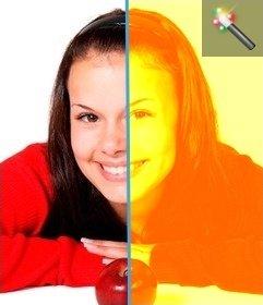 Este filtro sirve para colorear de amarillo una imagen