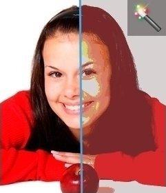 Edita tu imagen con este filtro para imágenes color threshold. Después puedes jugar con otros efectos de la página, para conseguir una apariencia más elaborada