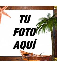 Tu foto en un marco de madera marítimo con una estrella de mar, un barco y una palmera
